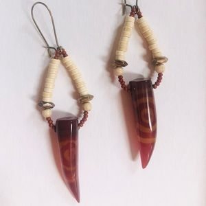 Carnelian tusk earrings
